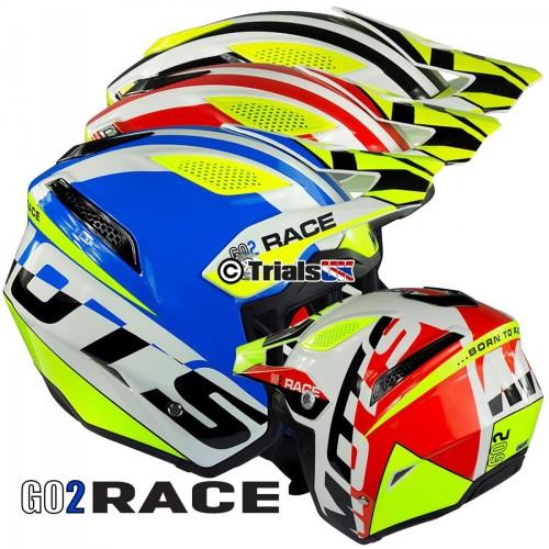 MOTS 2019 GO2 Race Lightweight Fibreglass Trials Riding Helmet - Available in 3 Colour Ways