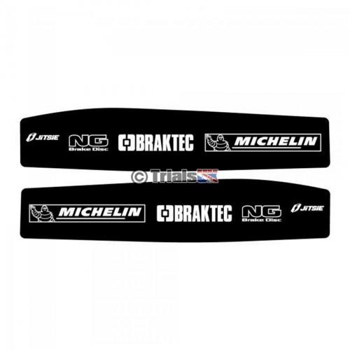 Jitsie Beta Evo Swingarm Decals - Michelin/Braktec/NG Logo