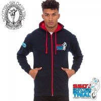 SSDT -The Scottish- Zipped Contrast Hoodie - Dark Blue-Red