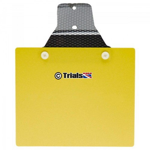 Trials UK Flexible Rear Number Plate - Plain Yellow
