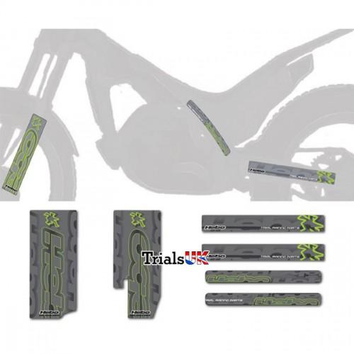 Hebo Universal Frame/Fork/Swingarm Decal Kit - Silver/Flou Green