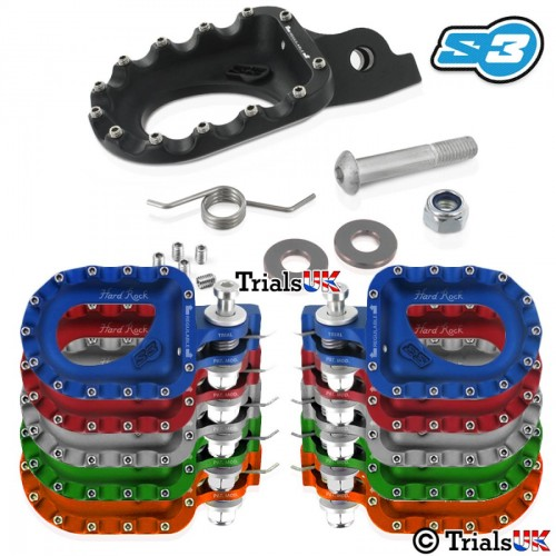 S3 Hardrock Aluminium Trials Footpegs - Variable Positioning