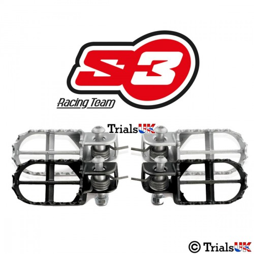 S3 Steel Trials Footpegs - Black or Silver