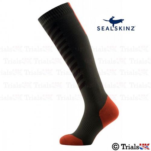 SealSkinz Waterproof Breathable Socks - Olive and Orange